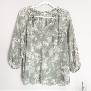 Sonoma Long Sleeve Sheer Green Floral Blouse Small